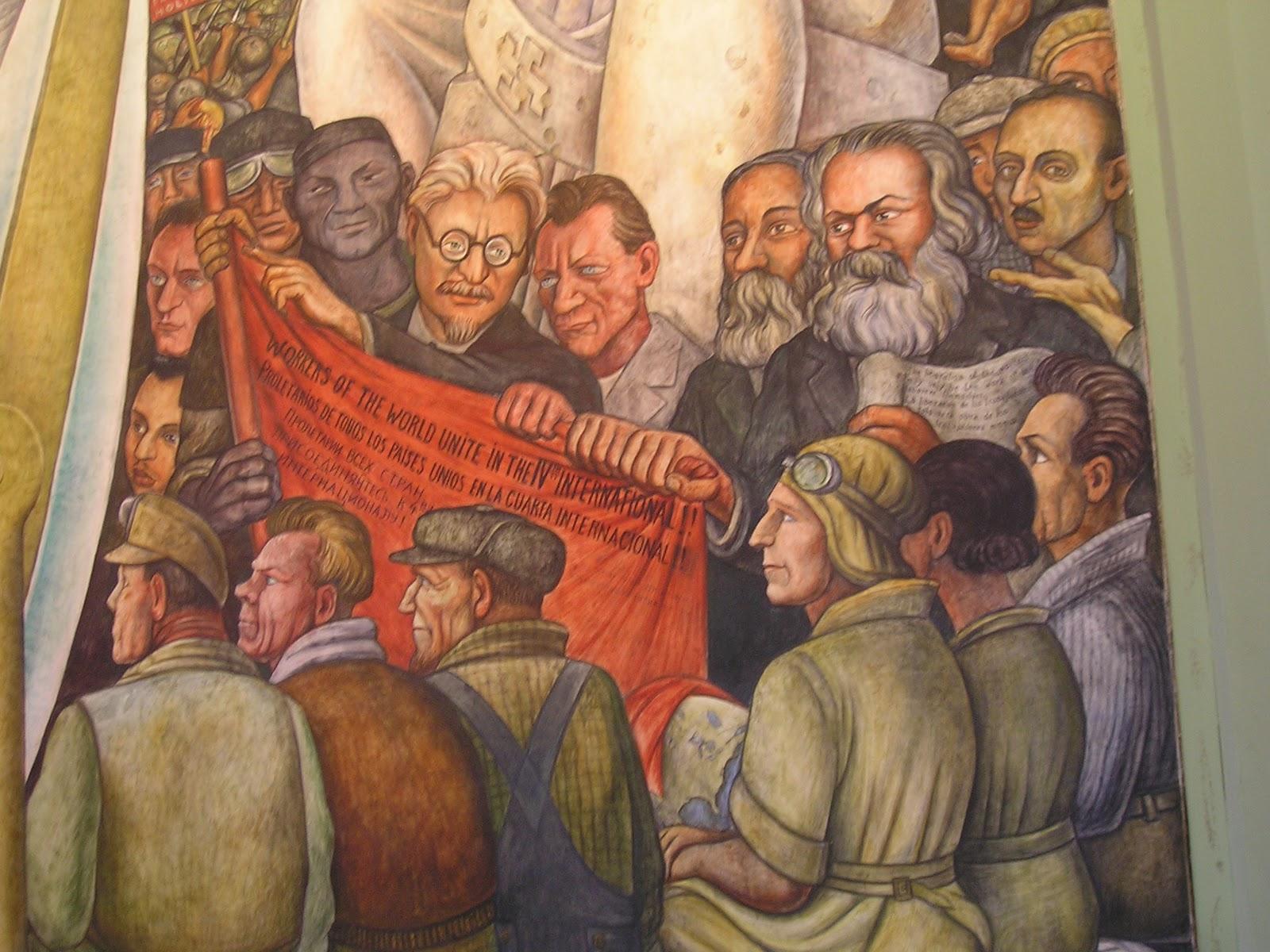 Mural de Diego Rivera (1935).  En el centro aparece Trotski y a la derecha Marx.