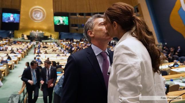 Macri y Juliana Awada, en el recinto de Naciones Unidas.