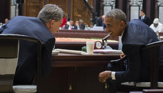 Macri y Obama en el G20 de China. Septiembre 2016.