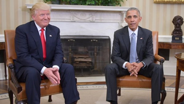 Trump y Obama en el Salón Oval, 10 de noviembre de 2016.