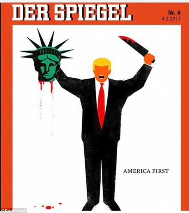 Sin nombrarlo, Donald Trump aparece degollando a la Estatua de la Libertad.