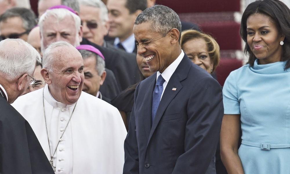 Francisco, Obama y Michelle: sonrisas en Washington